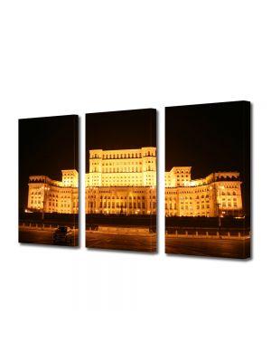 Set Tablouri Multicanvas 3 Piese Palatul Parlamentului Bucuresti