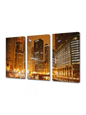 Set Tablouri Multicanvas 3 Piese Raul din Chicago noaptea