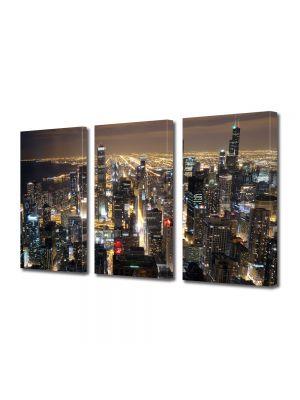 Set Tablouri Multicanvas 3 Piese Zgarie norii din Chicago