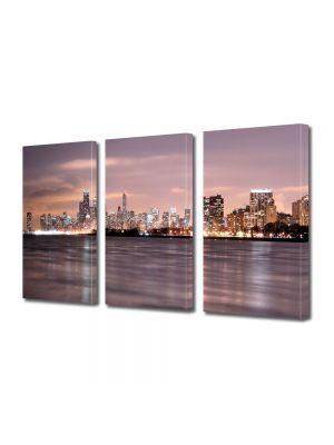 Set Tablouri Multicanvas 3 Piese Apus Chicago