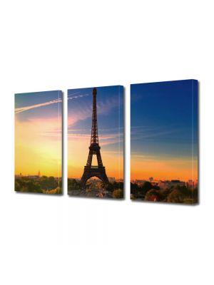 Set Tablouri Multicanvas 3 Piese Turnul Eiffel Paris Franta