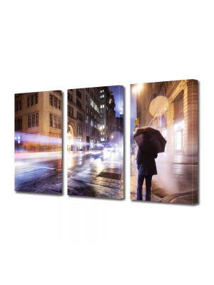 Set Tablouri Multicanvas 3 Piese Noapte rece in New York