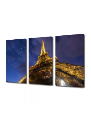 Set Tablouri Multicanvas 3 Piese Turnul Eiffel de jos
