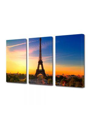Set Tablouri Multicanvas 3 Piese Turnul Eiffel Paris la Rasarit
