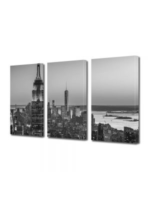 Set Tablouri Multicanvas 3 Piese New York Alb Negru