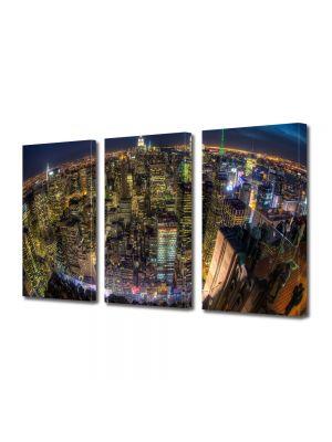 Set Tablouri Multicanvas 3 Piese Privire de ansamblu asupra New York