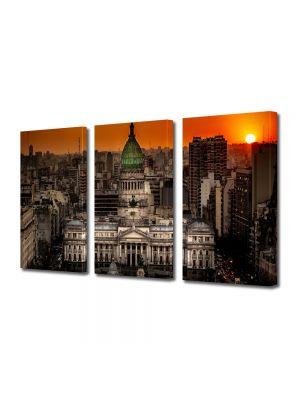 Set Tablouri Multicanvas 3 Piese Palatul Congresului in Buenos Aires Argentina