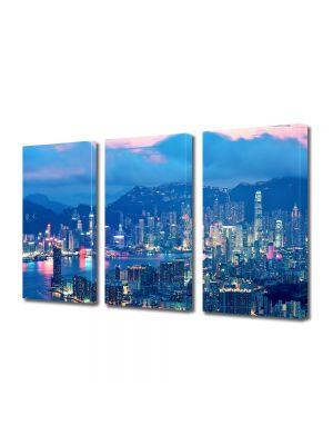 Set Tablouri Multicanvas 3 Piese Lumini in Hong Kong
