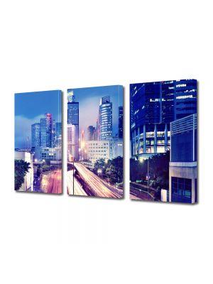 Set Tablouri Multicanvas 3 Piese Hong Kong noaptea