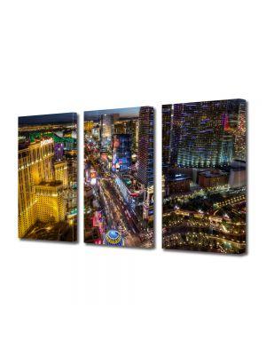 Set Tablouri Multicanvas 3 Piese Bulevard in Las Vegas