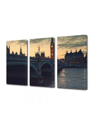 Set Tablouri Multicanvas 3 Piese Londra la Apus