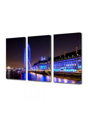 Set Tablouri Multicanvas 3 Piese Londra in noapte