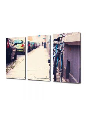 Set Tablouri Multicanvas 3 Piese Cu bicicleta in oras