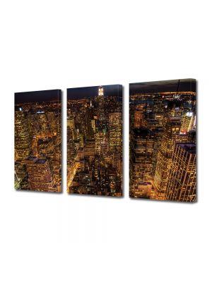 Set Tablouri Multicanvas 3 Piese Viata de noapte in New York