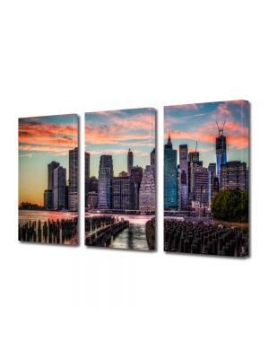Set Tablouri Multicanvas 3 Piese New York la apus