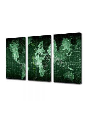 Set Tablouri Multicanvas 3 Piese Harta lumii matrice