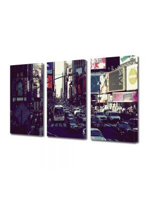 Set Tablouri Multicanvas 3 Piese Trafic in New York