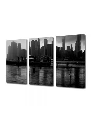 Set Tablouri Multicanvas 3 Piese New York pe apa