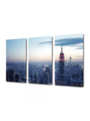 Set Tablouri Multicanvas 3 Piese Apus de iarna in New York