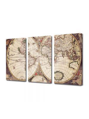Set Tablouri Multicanvas 3 Piese Harta desfasurata Sepia