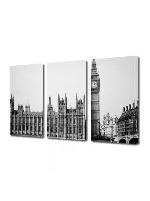 Set Tablouri Multicanvas 3 Piese Palatul Westminster Alb Negru Londra