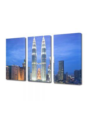 Set Tablouri Multicanvas 3 Piese Turnurile din Kuala Lumpur