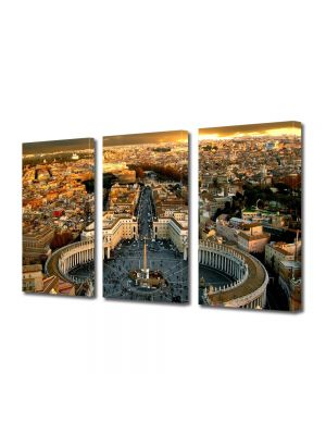 Set Tablouri Multicanvas 3 Piese Piata San Pietro Roma Vatican