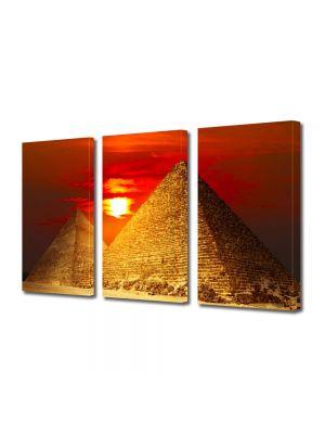 Set Tablouri Multicanvas 3 Piese Piramide la apus