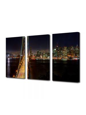 Set Tablouri Multicanvas 3 Piese Podul din San Francisco noaptea