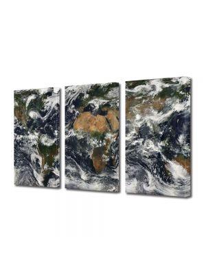 Set Tablouri Multicanvas 3 Piese Harta lumii din satelit