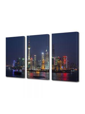 Set Tablouri Multicanvas 3 Piese O noapte in Shanghai
