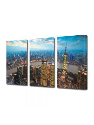 Set Tablouri Multicanvas 3 Piese Apus in Shanghai China