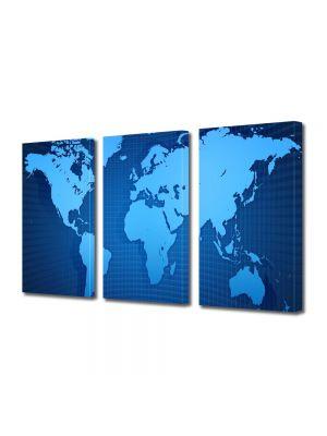 Set Tablouri Multicanvas 3 Piese Harta lumii albastra