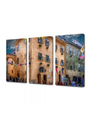Set Tablouri Multicanvas 3 Piese Casa Dracula Sighisoara