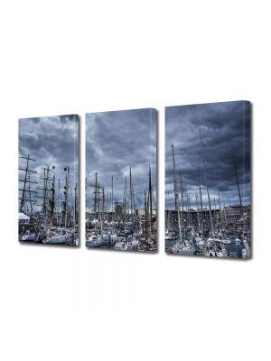 Set Tablouri Multicanvas 3 Piese Barci in port