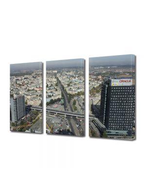Set Tablouri Multicanvas 3 Piese Skytower Bucuresti Panorama