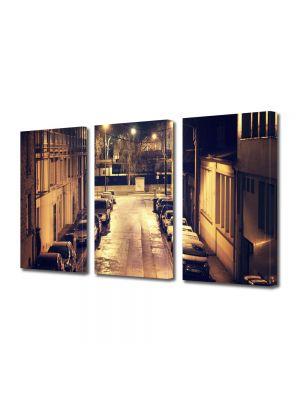 Set Tablouri Multicanvas 3 Piese Strada in noapte