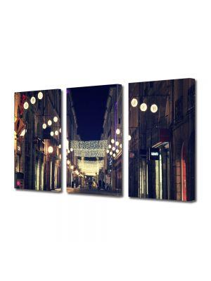 Set Tablouri Multicanvas 3 Piese Strazile orasului in noapte
