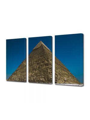 Set Tablouri Multicanvas 3 Piese Piramida din Giza Egipt
