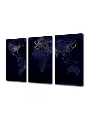 Set Tablouri Multicanvas 3 Piese Harta lumii