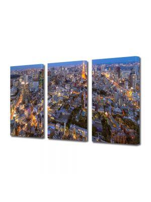 Set Tablouri Multicanvas 3 Piese Tokyo la apus