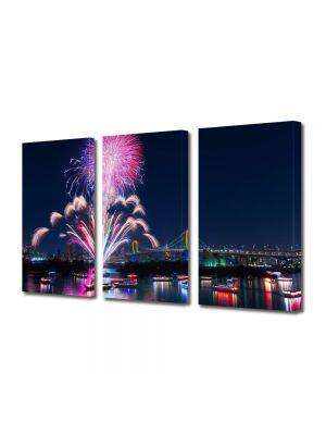 Set Tablouri Multicanvas 3 Piese Artificii in Tokyo