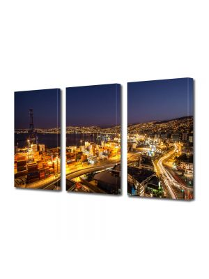 Set Tablouri Multicanvas 3 Piese Valparaiso Noaptea