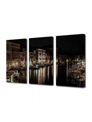 Set Tablouri Multicanvas 3 Piese Canalul Venetian noaptea