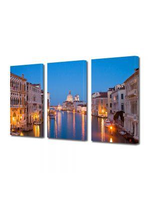Set Tablouri Multicanvas 3 Piese Lumini pe canal in Venetia
