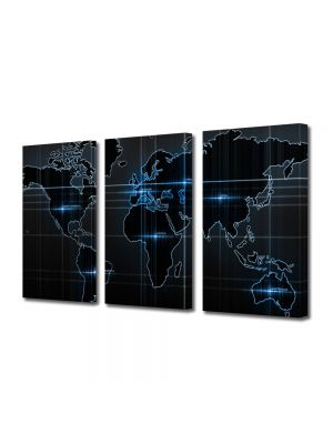 Set Tablouri Multicanvas 3 Piese Harta lumii SF
