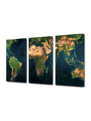Set Tablouri Multicanvas 3 Piese Harta lumii relief