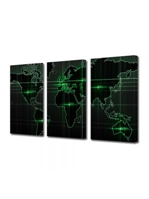 Set Tablouri Multicanvas 3 Piese Harta lumii Verde