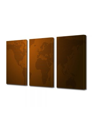 Set Tablouri Multicanvas 3 Piese Harta lumii dungi