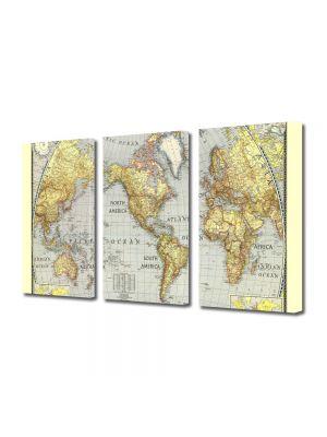 Set Tablouri Multicanvas 3 Piese Harta lumii Veche